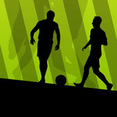 Soccer football players active sport silhouettes vector backgrou — Stock Vector