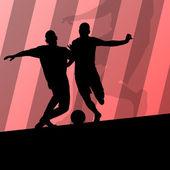 Piłka nożna Piłka nożna graczy aktywny sport sylwetka wektor backgrou — Wektor stockowy