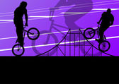 Sagome attivo sport estremi ciclista vector sfondo — Vettoriale Stock