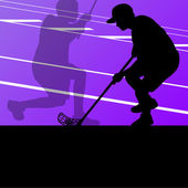 Floor ball players active sports silhouettes background illustra — Cтоковый вектор