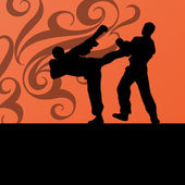 Active tae kwon do martial arts fighters combat fighting and kic — Wektor stockowy