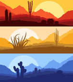 Desert cactus plants wild nature landscape illustration backgrou — Stock Vector