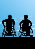 Hombres activos discapacitados en silla de ruedas detallan deporte concepto silho — Vector de stock