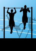 Hombre activo y fuerte aptitud haciendo push ups en silueta deportiva — Vector de stock
