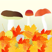 Mushrooms and leaves vector autumn background — Vecteur