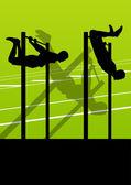 человек активный и сильный фитнес делает push ups в спортивный силуэт — Cтоковый вектор