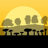 Mushrooms landscape in front of forest autumn vector background — Stock Vector