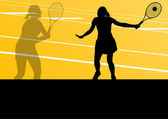 Tennis players active sport silhouettes vector background — Stock Vector
