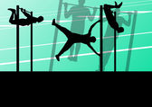Active and strong fitness man doing push ups in sport silhouette — Vector de stock