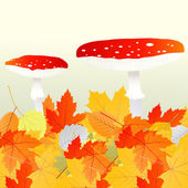 Mushrooms and leaves vector autumn background — Stock Vector