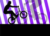 Extreme cyclist active sport silhouettes vector background — Wektor stockowy