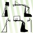 Basketball hoop vector background set concept — Stock Vector
