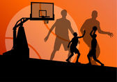 Basketball players young active sport silhouettes vector backgro — Stockvektor