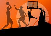 篮球球员年轻活跃的运动剪影矢量背景 — 图库矢量图片