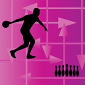 Bowling player silhouettes vector abstract background — Stock Vector