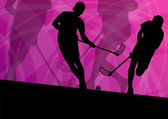 Floor ball players active sport silhouettes vector abstract back — Stok Vektör