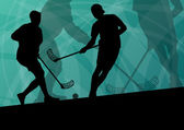 Floor ball players active sport silhouettes vector abstract back — Stock vektor