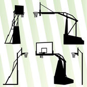 Basketball hoop vector background set concept — Stock Vector