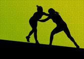 Greek roman wrestling active young women sport silhouettes vecto — Stock Vector