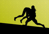 希腊罗马摔跤活跃的年轻女性运动剪影 vecto — 图库矢量图片