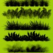 Tropical exotic jungle grass and plants detailed silhouettes bac — Stock Vector