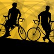 Active cyclist bicycle rider active sport silhouette vector back — Stock Vector