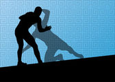 Greek roman wrestling active men sport silhouettes vector abstra — Wektor stockowy