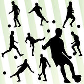 Soccer player silhouette vector background set — Stock Vector