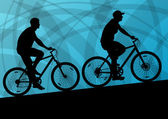 Aktywne kolarz rower rider aktywny sport sylwetka wektor powrót — Wektor stockowy