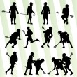 Lacrosse player in action vector background set — Stock Vector
