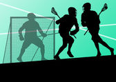 Lacrosse players active sports silhouettes background illustrati — Stock Vector