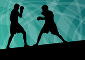 Boxing active young men box sport silhouettes vector abstract ba — Wektor stockowy