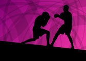 Boxing active young men box sport silhouettes vector abstract ba — Vecteur