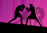 Boxing active young men box sport silhouettes vector abstract ba — Stockvektor