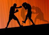 Boxing active young men box sport silhouettes vector abstract ba — 图库矢量图片