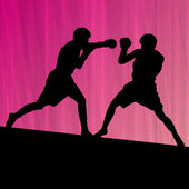 Boxing active young men box sport silhouettes vector abstract ba — 图库矢量图片