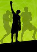 Boxing active young men box sport silhouettes vector abstract ba — Stockvektor