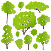 Tree and bushes set ecology vector background concept — Stock Vector