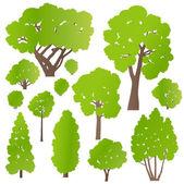 Ağaç ve çalıların ekoloji vektör arka plan kavramı ayarla — Stok Vektör