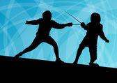 Svärd fighters aktiva unga män fäktning sporten silhuetter vector — Stockvektor
