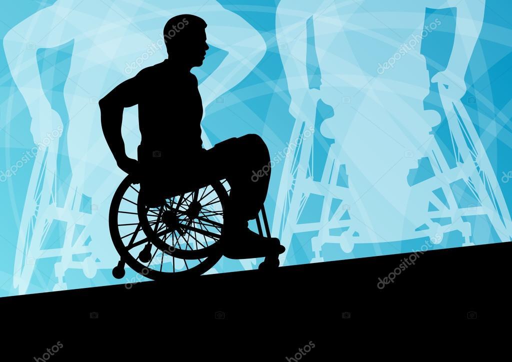 主动残疾青年男子轮椅详细的体育观