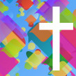 Stock Vector: Christianity religion cross mosaic concept abstract background v