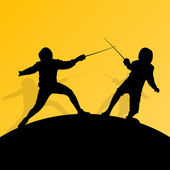 Fencing active young teenager sword fighting sport silhouettes v — Stock Vector