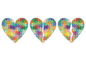 Broken love heart mosaic abstract background concept illustratio — 图库矢量图片
