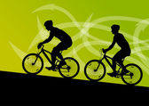 Active man and woman cyclists bicycle riders in abstract arrow l — Stockvektor