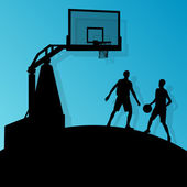 Basketball players young active sport silhouettes vector backgro — Vecteur