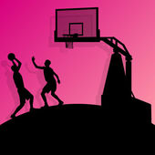 Basketball players young active sport silhouettes vector backgro — Stock Vector