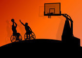 Basketball players young active sport silhouettes vector backgro — 图库矢量图片