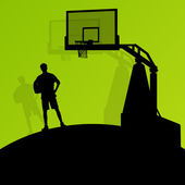 Basketball players young active sport silhouettes vector backgro — Vettoriale Stock
