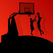 Basketball players young active sport silhouettes vector backgro — Stock vektor